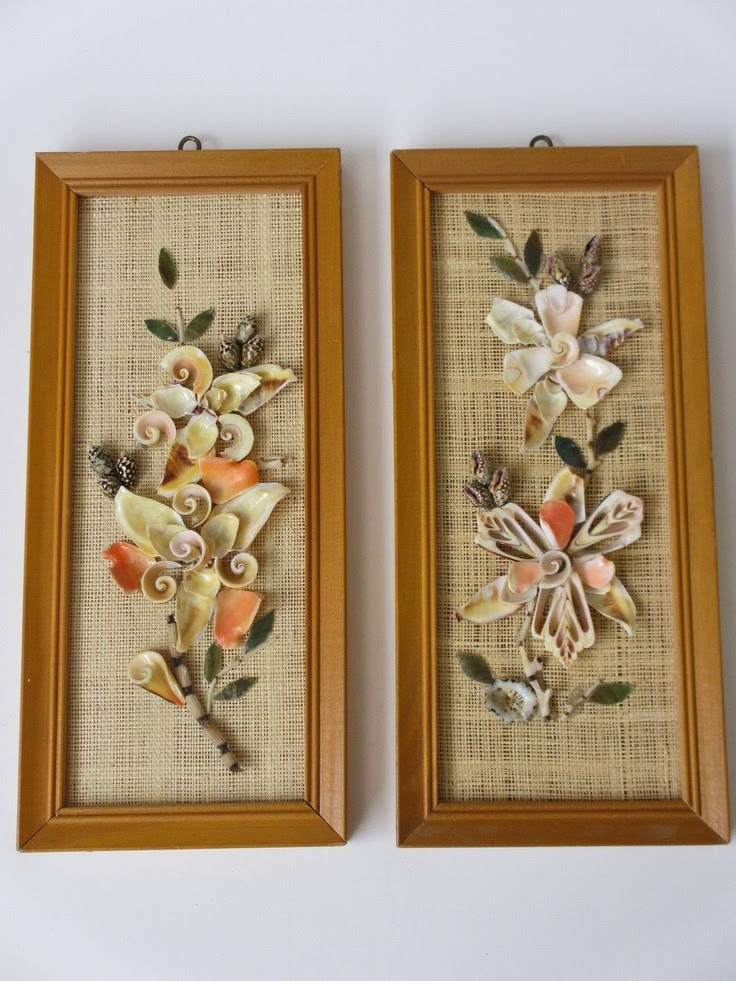 Seashell craft wall hanging decoration ideas art for Arts and crafts style prints