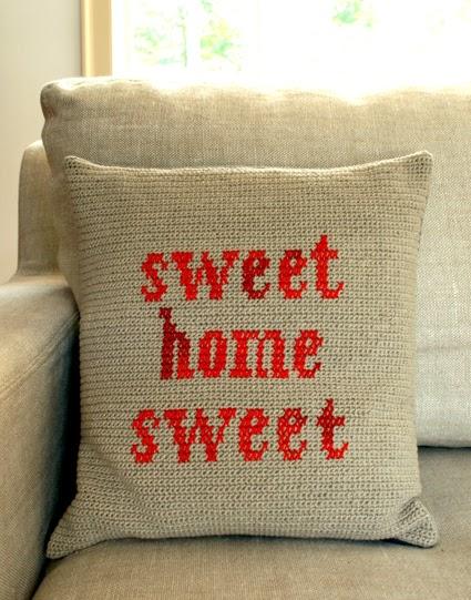 Crochet For Free Crocheted Cross Stitch Pillow