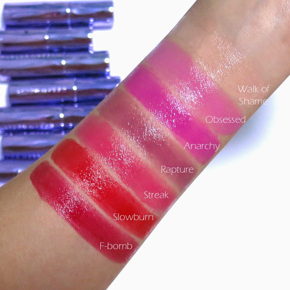 The Makeup Box: Urban Decay Sheer Revolution Lipstick Swatches