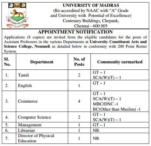 Applications are invited Assistant Professors for various subjects, Physical Education Director and Librarian in University Constituent Arts and Science College Nemmeli under direct recruitment process