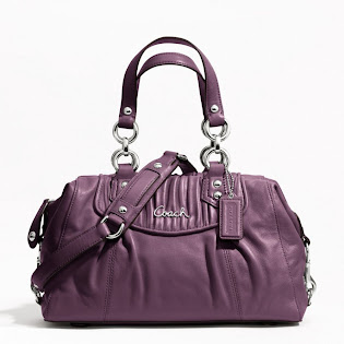 Ready Stock Coach Ashley Gathered Leather Satchel F19452 Plum