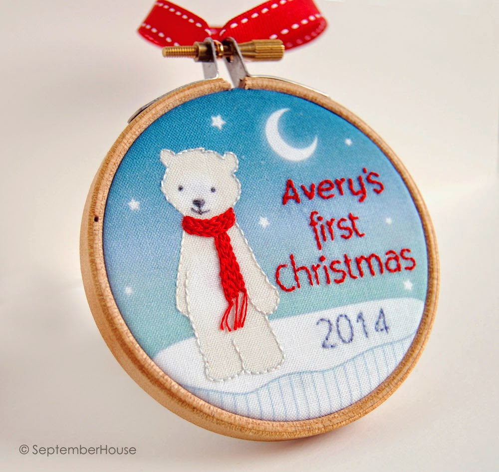 Polar Bear Ornament Holiday 2014 Personalized Baby's First Christmas