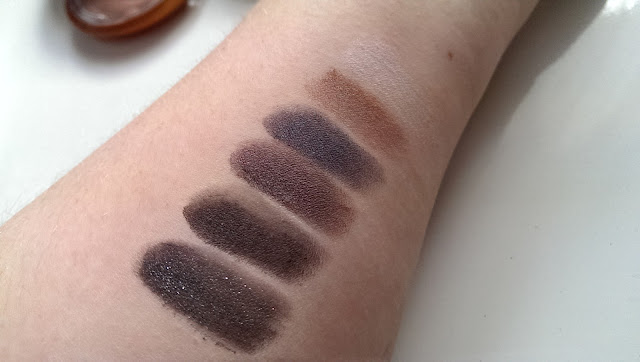 NYX smokey palette swatched on my arm, with primer