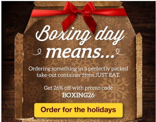 JustEat Boxing Day 26% Off Promo Code