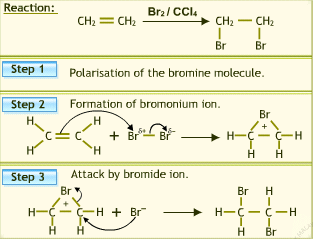 mechanism of bromine addition to alkenes Addition to alkenes  the final step is the addition of the bromine,  try to make sense of how the reactant went to product and then take a look at the mechanism.