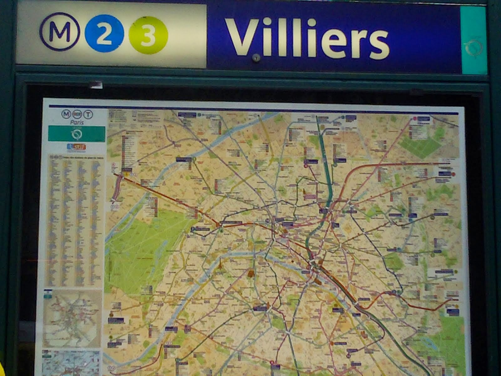 Villiiers Metro Stop Map in Paris