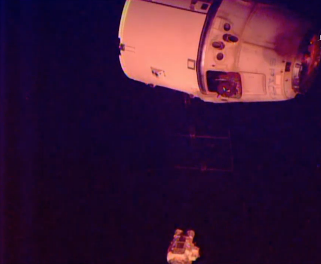 Dragon is released from the Space Station. Credit: SpaceX
