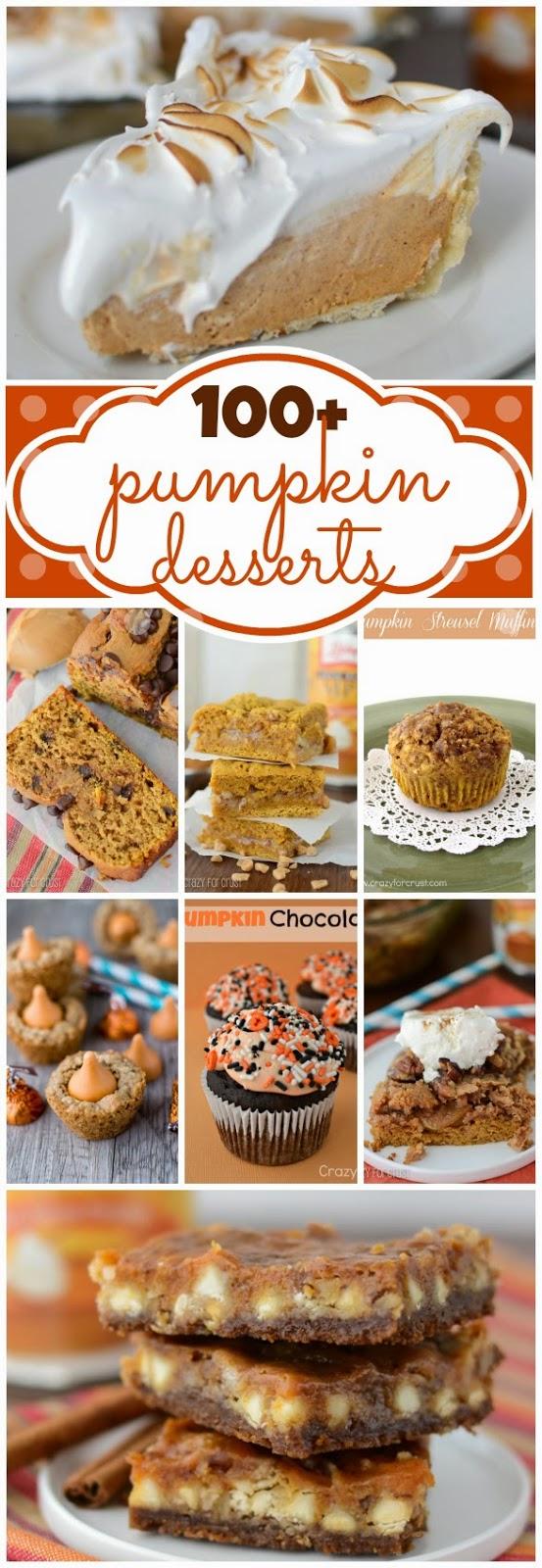 http://www.crazyforcrust.com/2013/10/100-pumpkin-dessert-recipes/