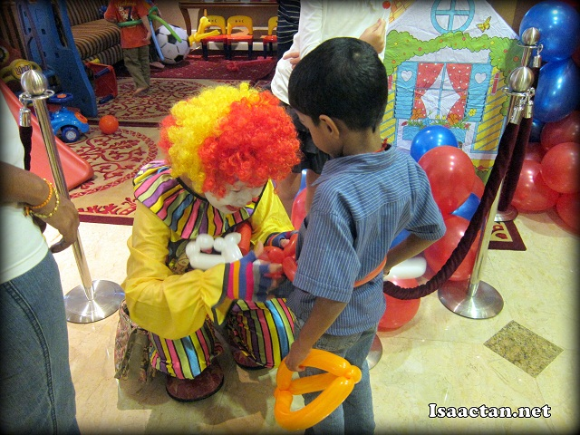 The colourful clown at the Kids Corner