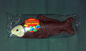 Chocolate fish, the symbol of Easter in France.