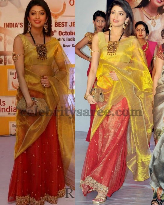 Pranitha in Red Shimmer Half Saree