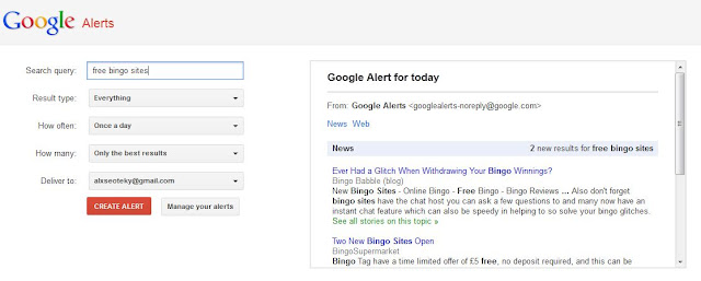 Creating google Alerts search Query