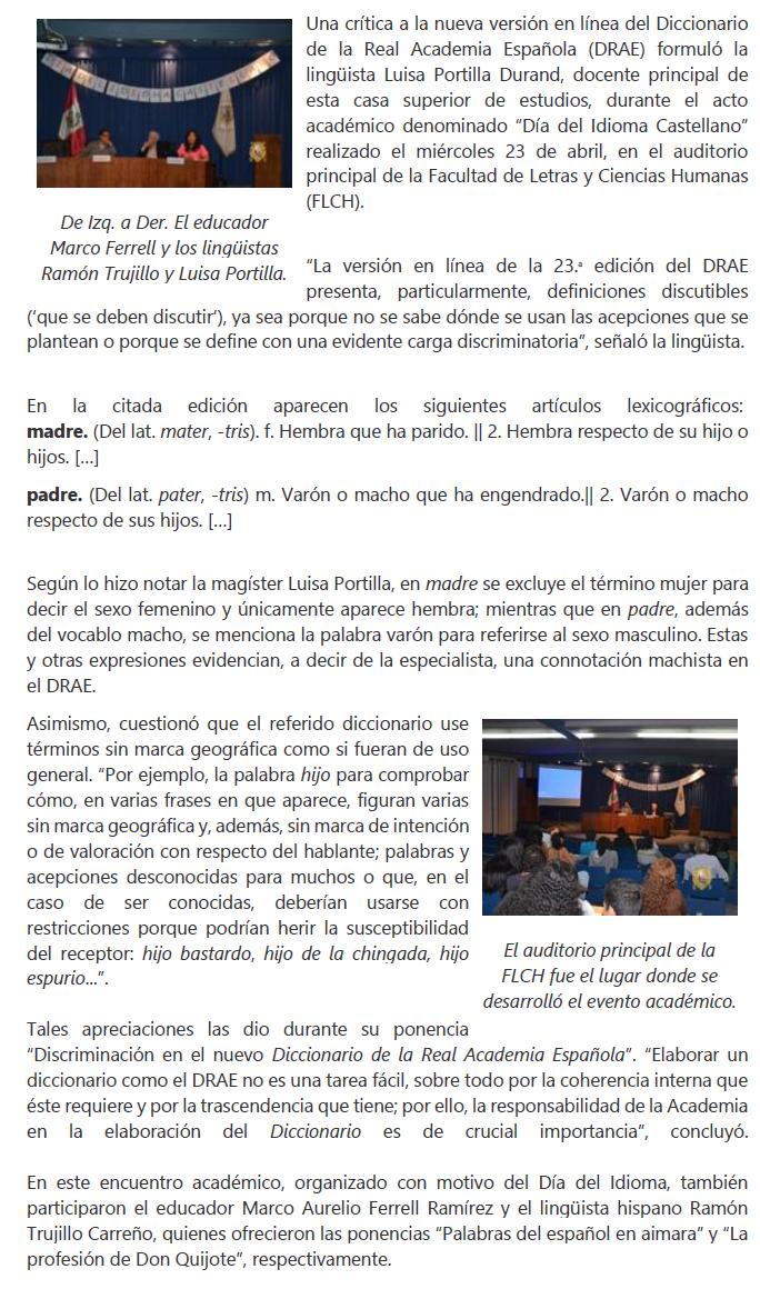 Irene Hostos Quicaña: Crítica a la nueva versión en línea del ...