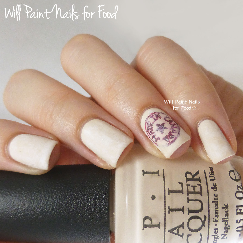 Made in Canada logo nail art
