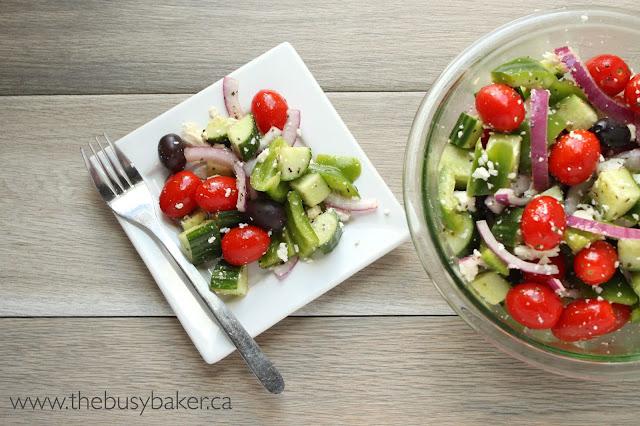 Easy Greek Salad In Under 5 Minutes!