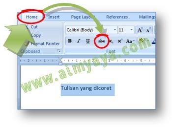 Gambar: cara mudah dan cepat membuat tulisan yang dicoret di dokumen microsoft word