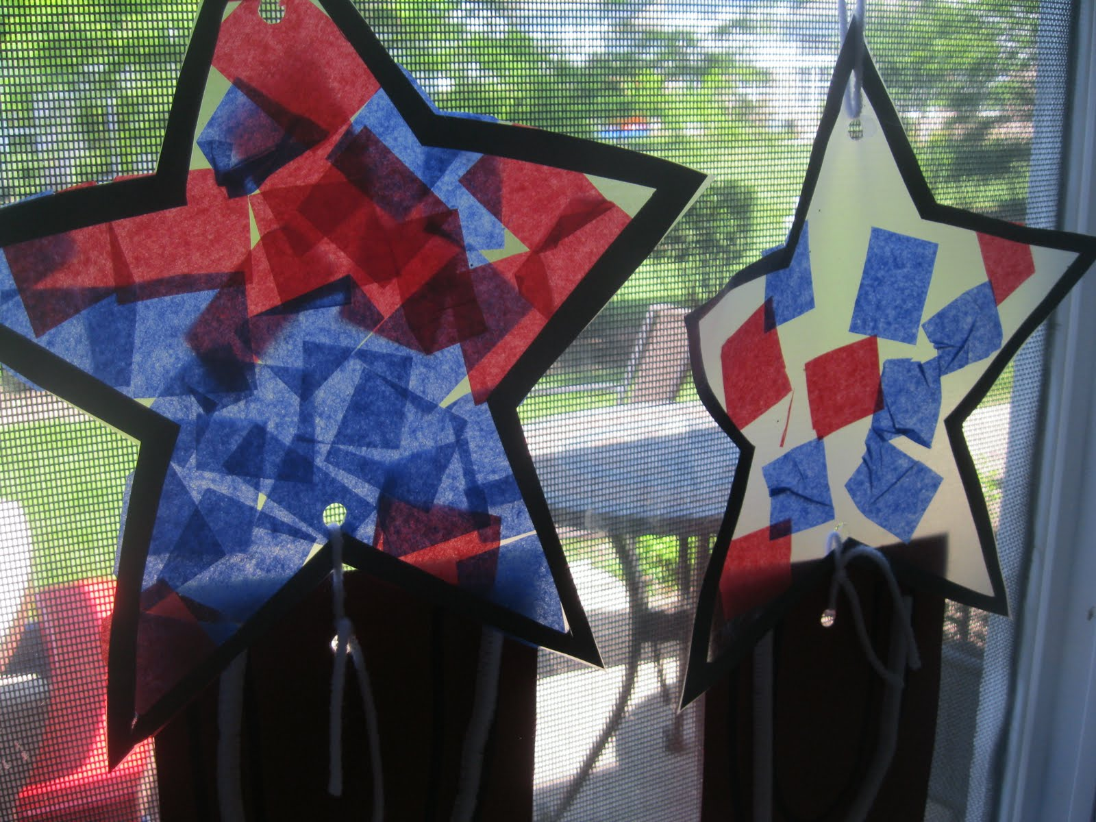 preschool crafts for kids 4th of july tissue paper stars craft