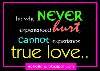 he who never experienced hurt, cannot experience true love