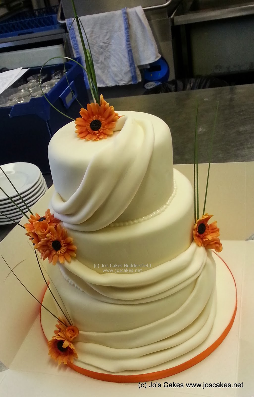 Jo s Cakes 3 Tier Orange Gerberas Wedding Cake