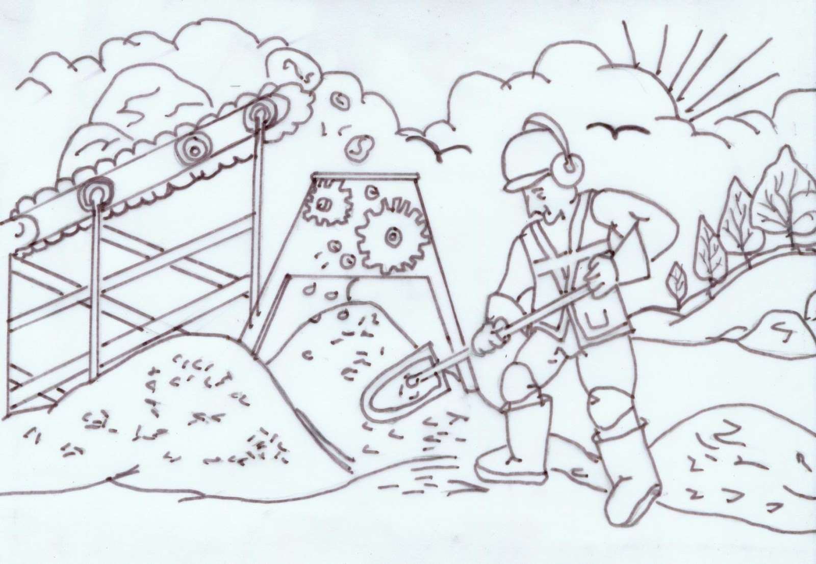 water feature installation  12 cartoon sketches for