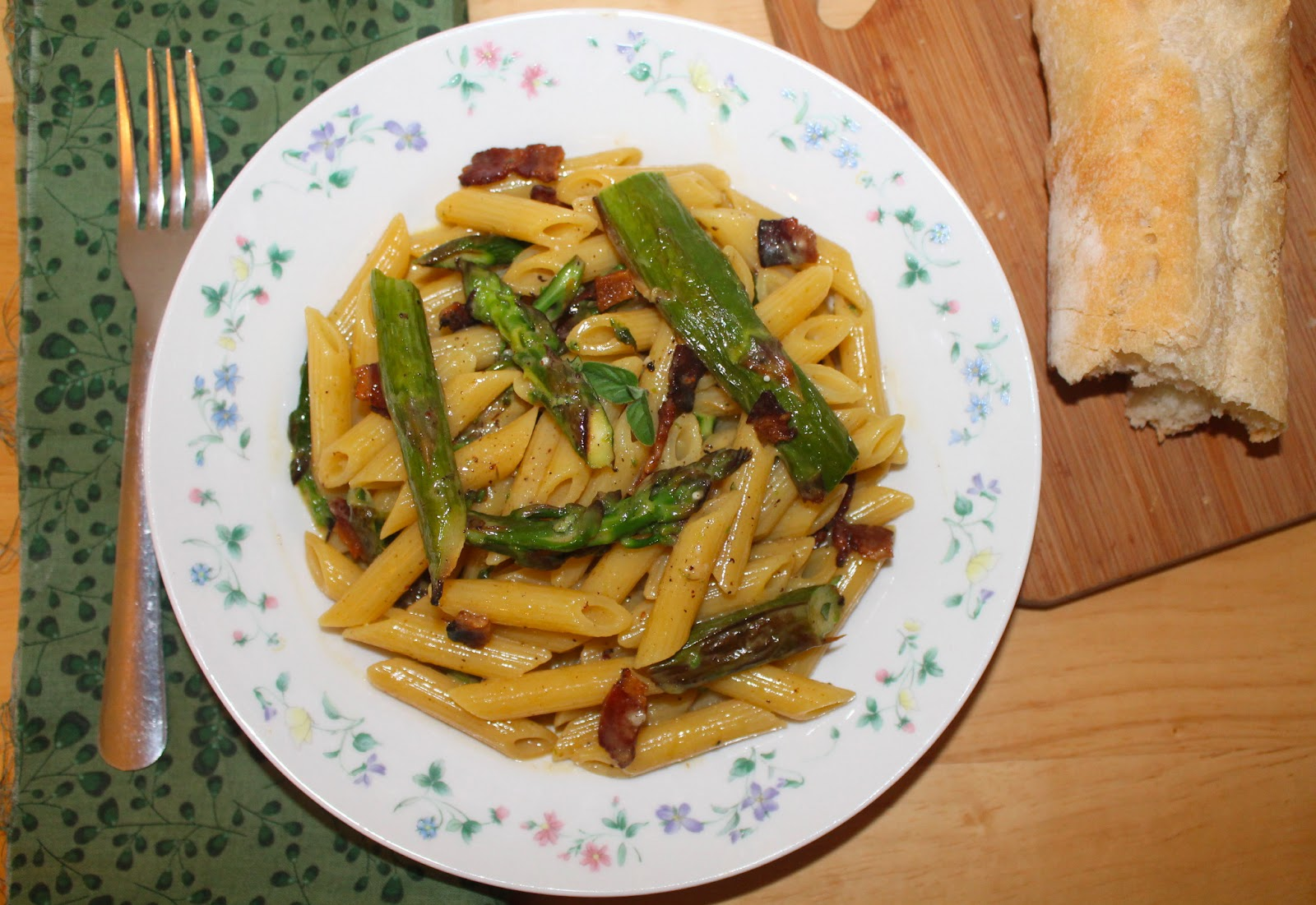 Savory Moments: Penne and asparagus carbonara