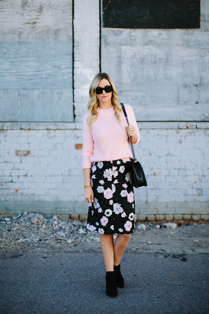 J.Crew, Collection, Floral, Pencil, Skirt, Gilded, Jacquard, Carolinna Espinosa, Tavia, Moto, Silver, Metal, Suede, Boots, Booties, A.L.C., Pink, Raglan, Waffle, Knit, Sweater, Chanel, Boy, Celine, Sunglasses, Fall, Church, Dressed Up, Conservative, Outfit, Caitlin Lindquist, A Little Dash of Darling, Outfit Inspiration, Outfit Ideas, Street Style, Arizona, Scottsdale, Phoenix,