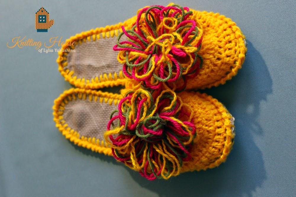 тапки, тапочки вязаные, домашняя обувь, вязаная обувь