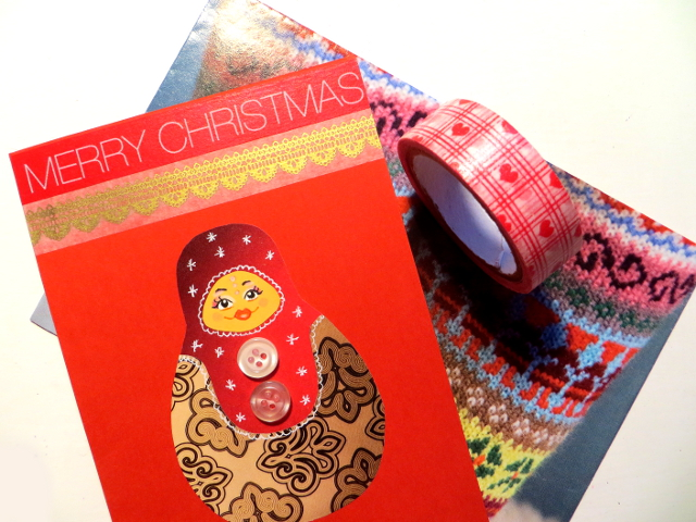 I sent Christmas letters and cards to my penpals. I used Christmassy envelopes made of magazine pages, included handmade matryoshka doll button cards and sealed the envelopes with washi tape.