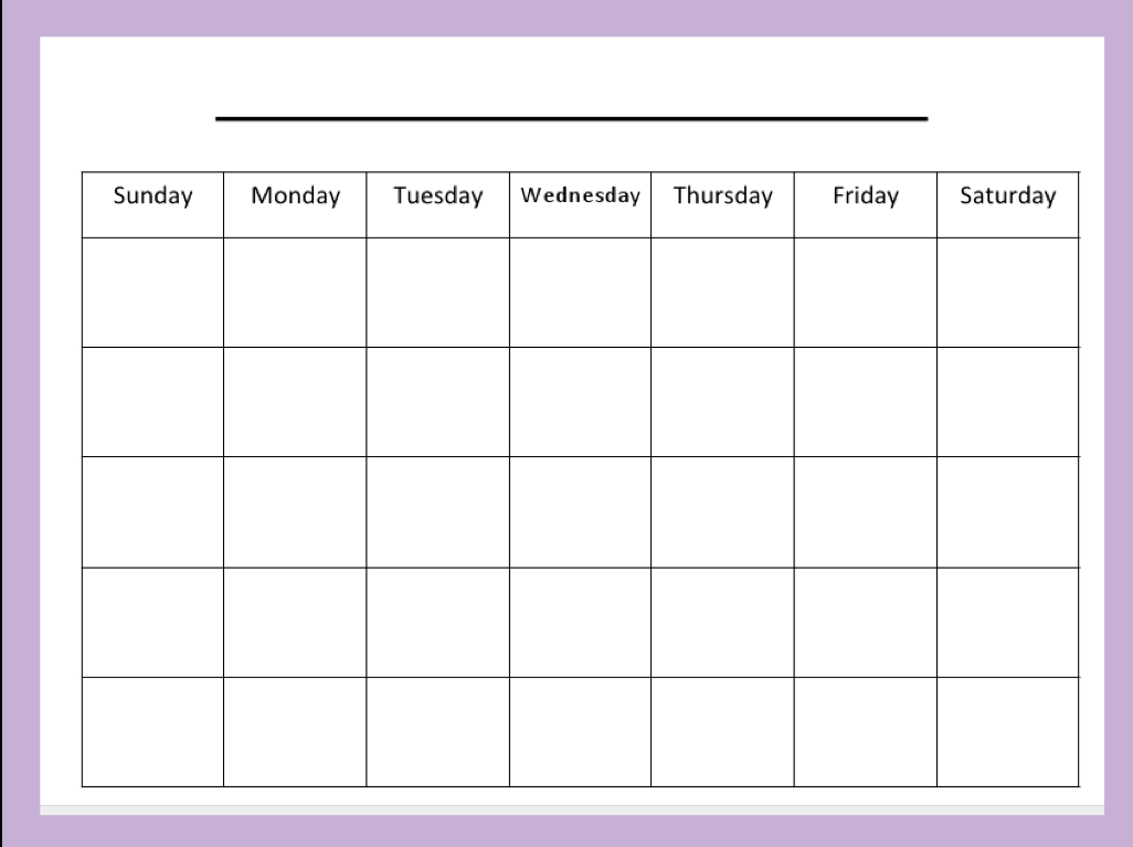 Weekly Activity Calendar Template | Calendar Template 2016