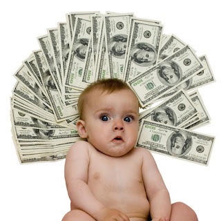 picture of baby with money