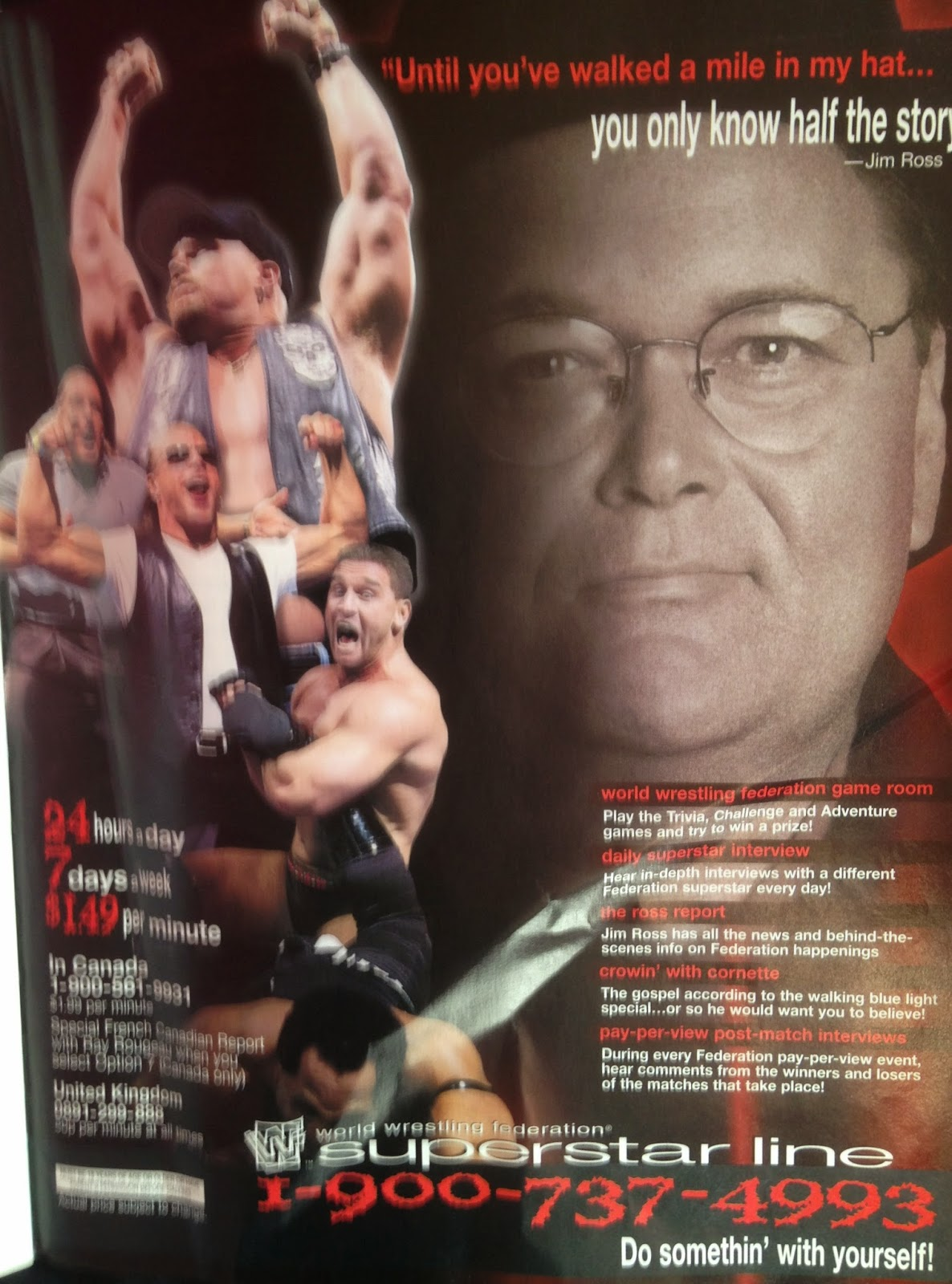 WWE - WWF Raw Magazine - April 1998 - WWF Superstar Line ad featuring Jim Ross