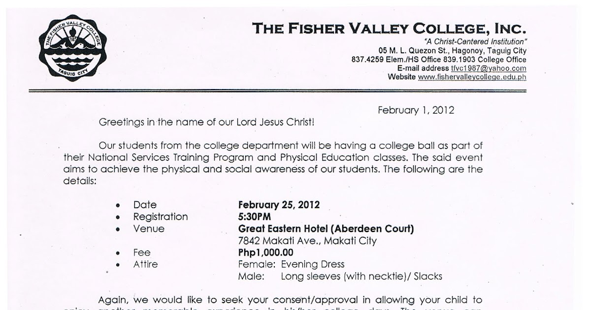 The Fisher Valley College College Ball 2012 Waiver
