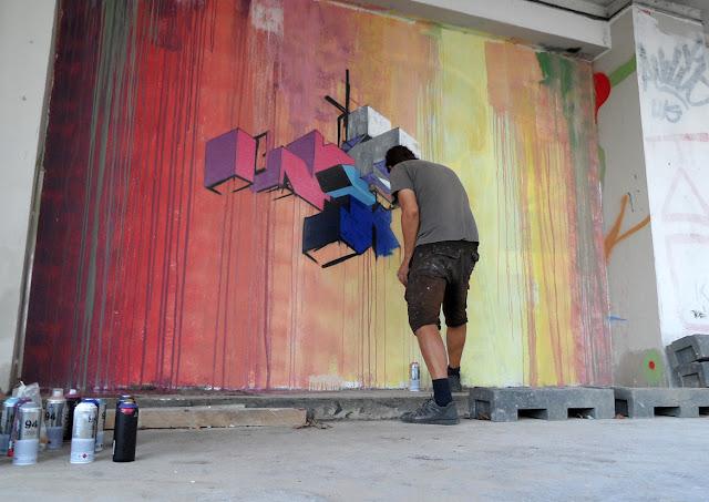 street art in progress by etnik in paris