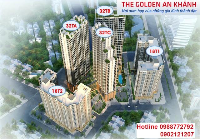 Mặt bằng tổng thể vị trí dự án chung cư The Golden An Khánh 32T giai đoạn 2