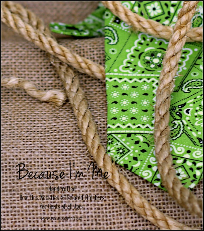 Because I'm Me green bandana inspired cotton bow and neck ties for your cowboy