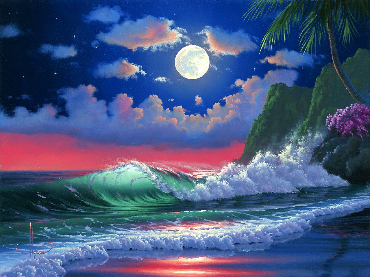 Il mondo di mary antony john al hougue paesaggi hawaiani for Paesaggi marini dipinti