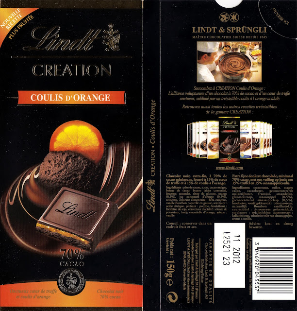 tablette de chocolat noir fourré lindt création coulis d'orange