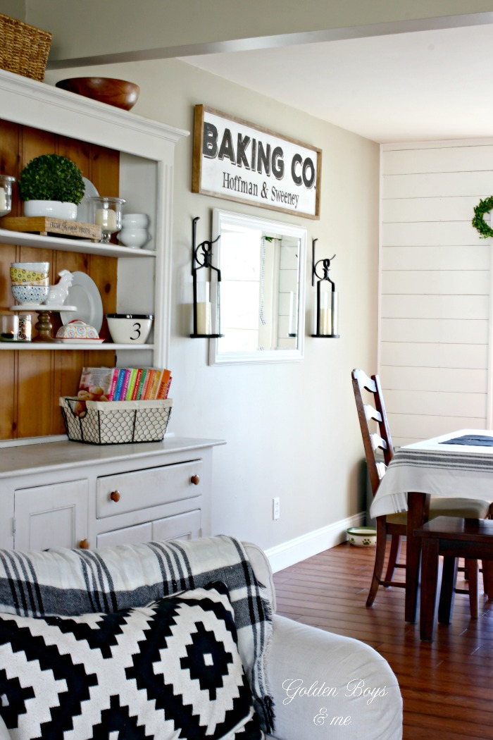 Farmhouse style DIY sign and farmhouse hutch - www.goldenboysandme.com