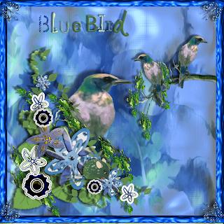 """Free scrapbook kit """"Blue Birds"""" from JennyJennyJenny"""