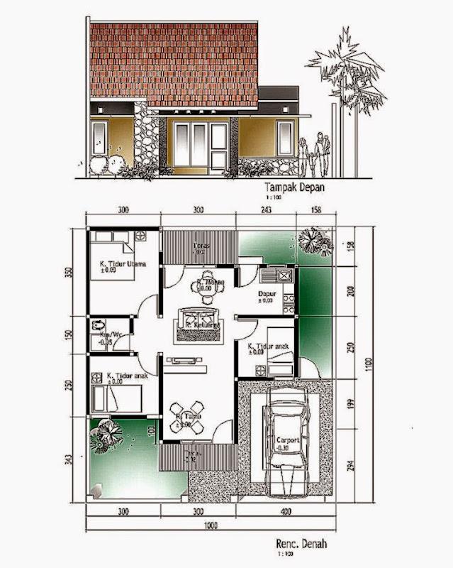 Gambar Denah Rumah Minimalis 9x15m  Desain Rumah Minimalis