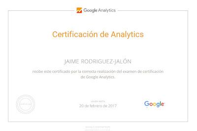 Certificado Google Analytic Jaime Rodriguez-Jalón y Olea