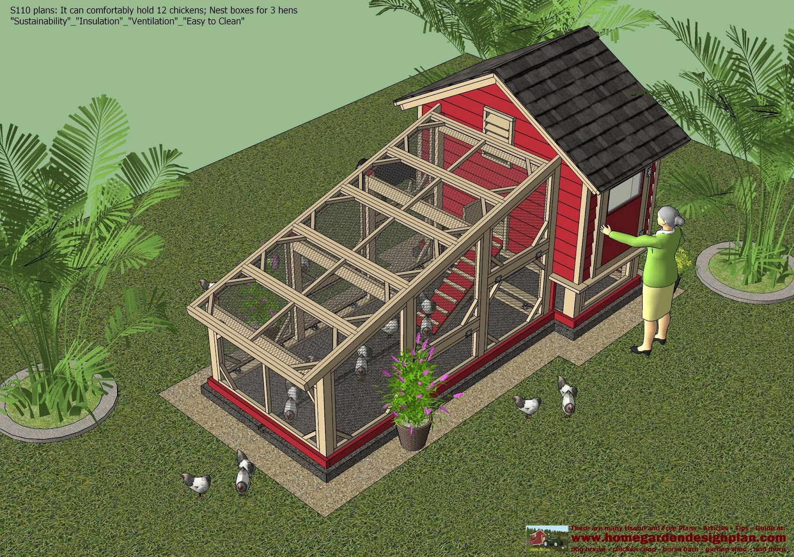 Sntila s110 chicken coop plans construction chicken coop for Chicken coop size for 6 chickens