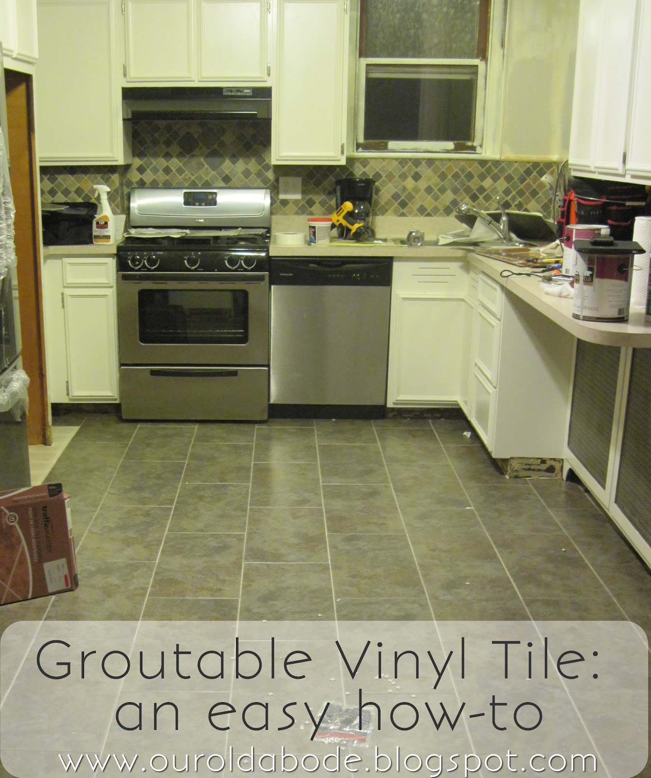 Our old abode kitchen floor groutable vinyl tile for Kitchen vinyl flooring