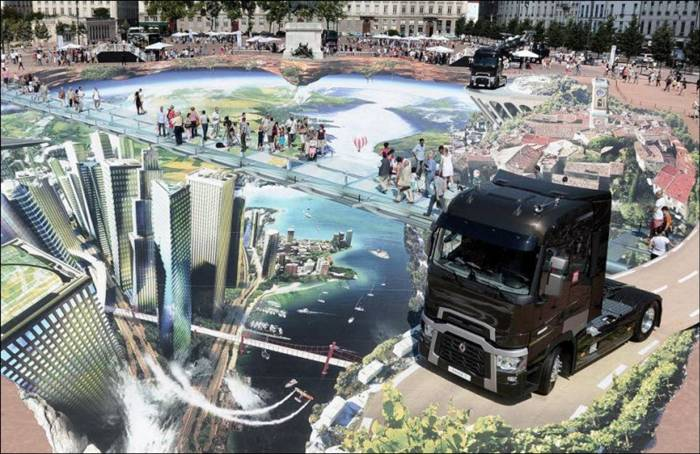 Francois Abelane is not only responsible for this incredible 4000 square meter piece of 3D street art but may also be breaking the record for the largest 3D street art in the world. Francois was commissioned to do this artwork for the launch of a new line of Renault trucks in Lyon.