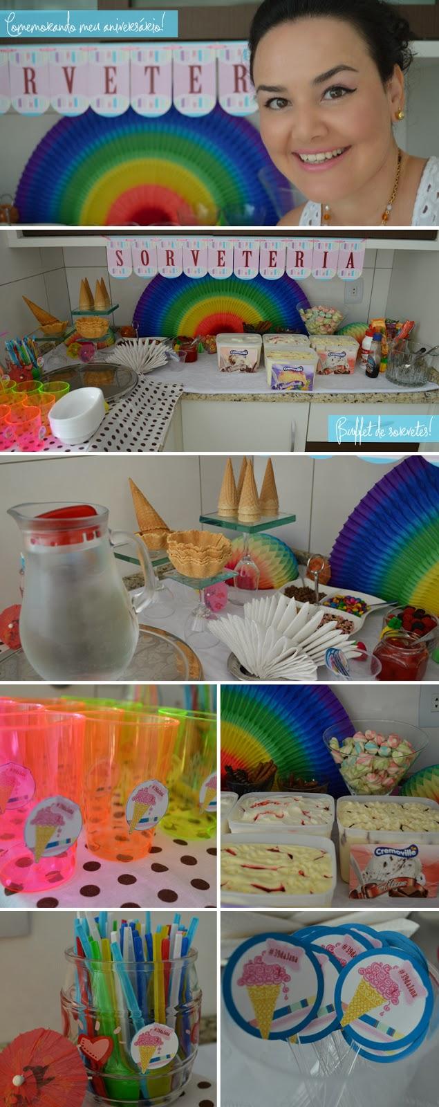 Aniversário, sorveteria, buffet de sorvetes, cremoville, Aniversário #39dajana, blogger, blogueira, joinville
