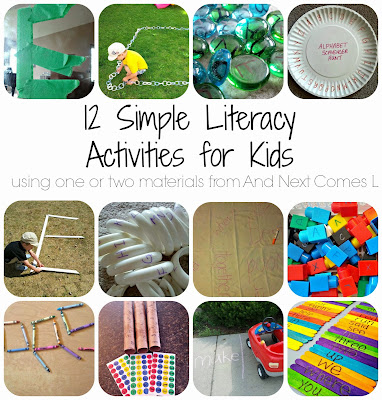 12 simple literacy activities for kids that use one or two materials from And Next Comes L