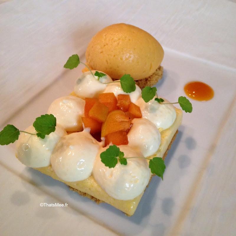 dessert abricot confit fève  tonka sablé breton mascarpone amaretto sorbet romarin resto Hotel du Tribunal, Mortagne-au-Perche week-end parisien campagne