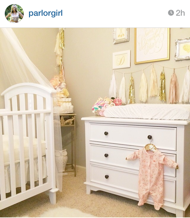 gold and white theme nursery