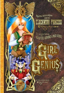 Cover art for The Clockwork Princess, featuring Agatha, book in hand, behind a mouthless female automaton with her hands raised over a crystal ball