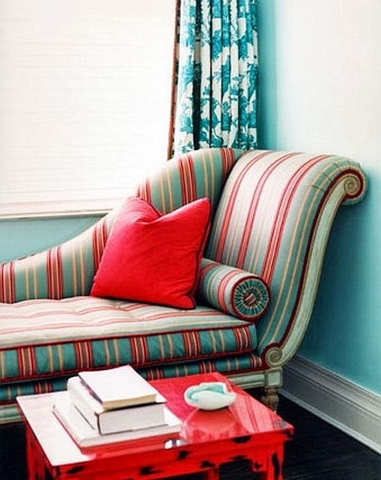 turquoise and red relaxing place with sofa